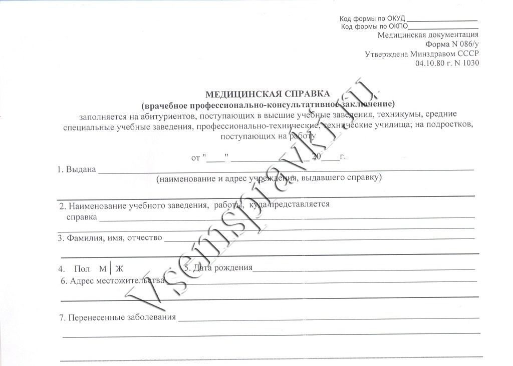 Справка медицинская водительская в Москве Коньково