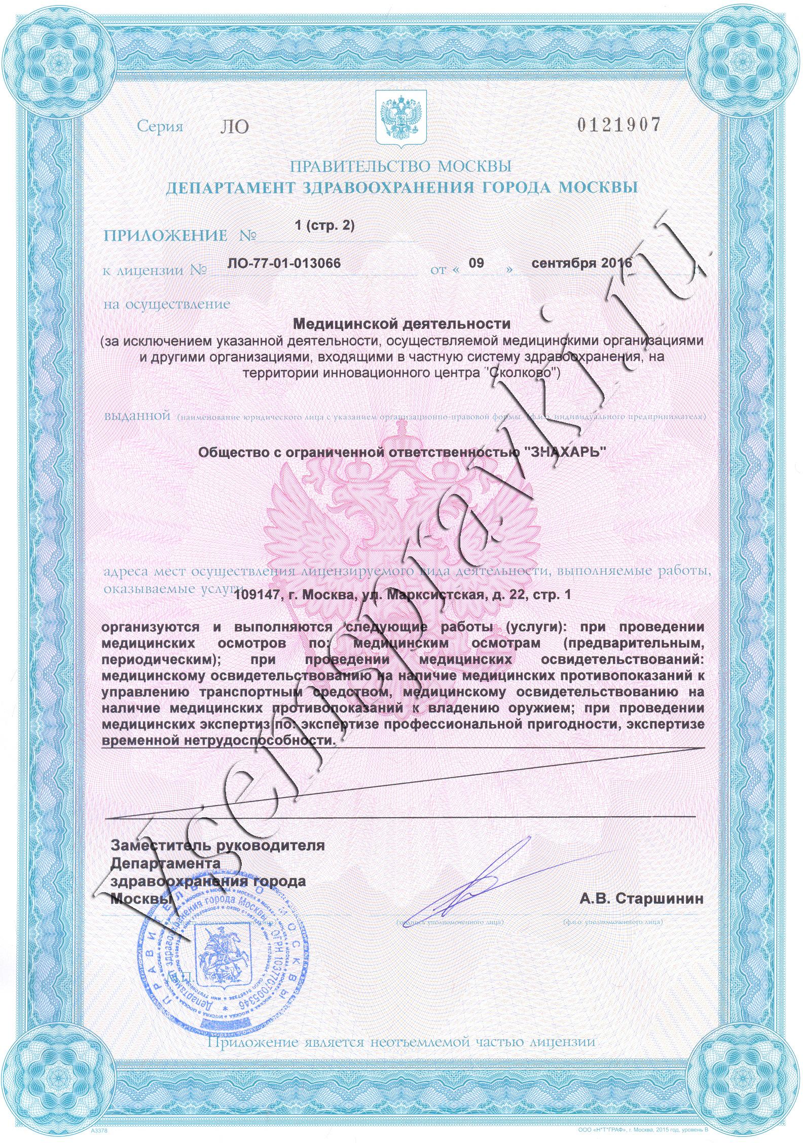 Медицинская справка 046-01 Справка ПНД для госслужбы Пролетарская